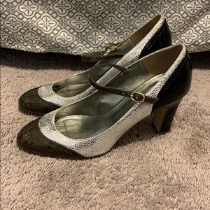 J.Crew Mary Janes black and silver leather.